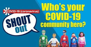 """Five children dressed as superheros on a blue background. A speech bubble reads """"Covid-19 SHOUT OUT""""."""