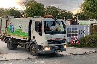 A South Hams District council recycling lorry pulling out of the depot.