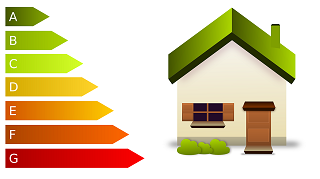 A graphic of a house, with energy efficiency ratings alongside it from A (very efficient) to G (very inefficient)