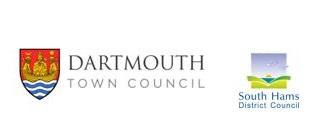The official logos of Dartmouth Town Council and South Hams District Council