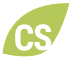 A light green leaf shape with a capital C and S written side by side in white lettering