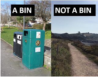 "A picture of a black wheelie bin next to a picture of a country lane. The bin has the caption ""a bin"" while the country lane has the caption ""not a bin."""