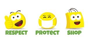 """A series of three yellow emojis with the tagline """"respect, protect, shop"""""""